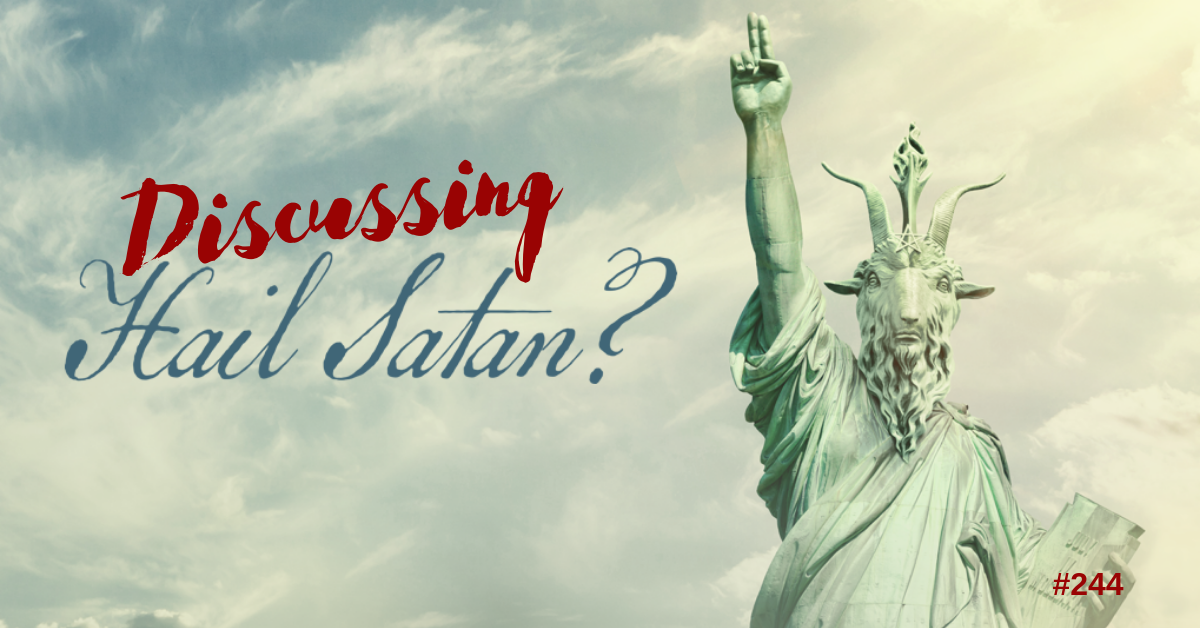 The 'Hail Satan?'' movie cover - clouds with the Statue of LIberty that has a goat head