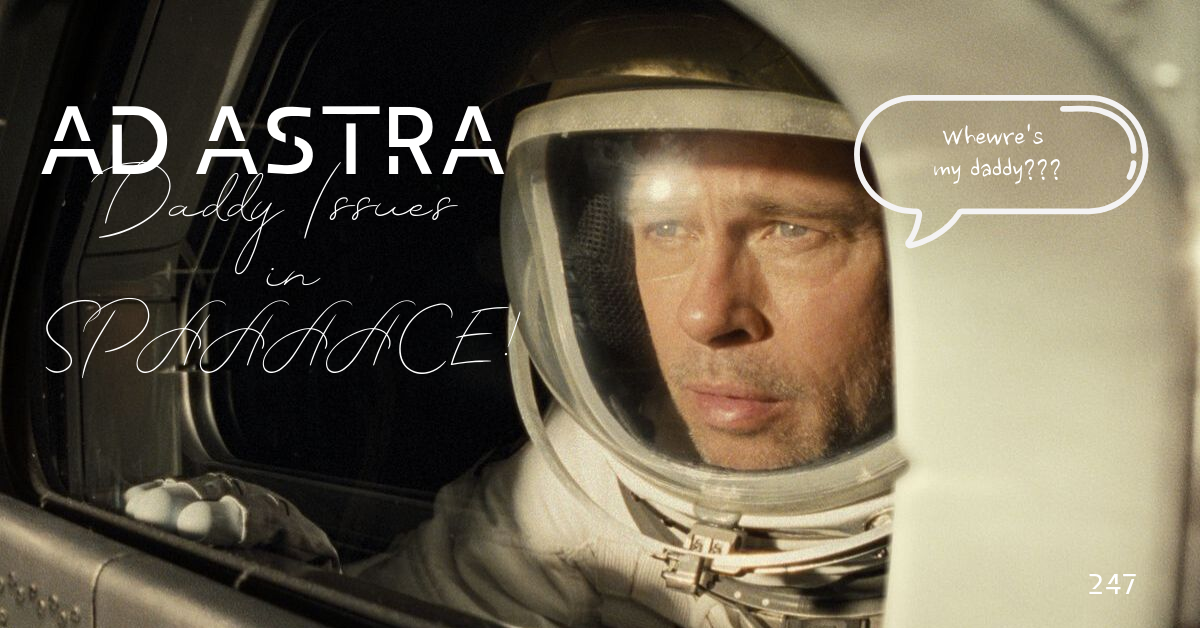 Brad Pitt looking out of a space vehicle with a speech bubble saying
